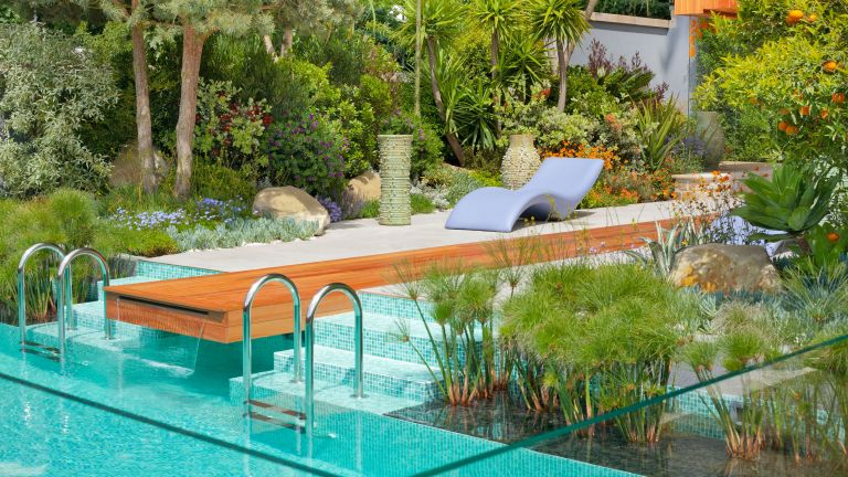 Contemporary garden design with a swimming pool in Mediterranean style