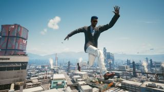 A man leaps over Night City in shiny pants