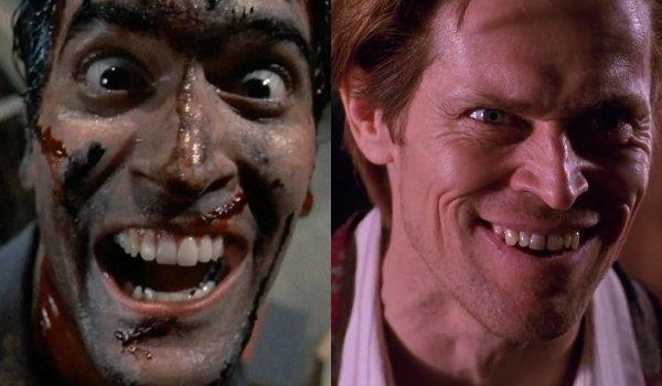 Evil Dead II Ash's creepy smile compliments Spider-Man's Harry Osborn pulling a similar face