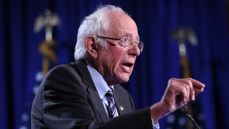 Sen. Bernie Sanders (I-VT) delivers an address on threats to American democracy at George Washington University on September 24, 2020 in Washington, DC.