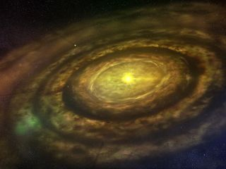 newly formed star surrounded by a swirling protoplanetary disk