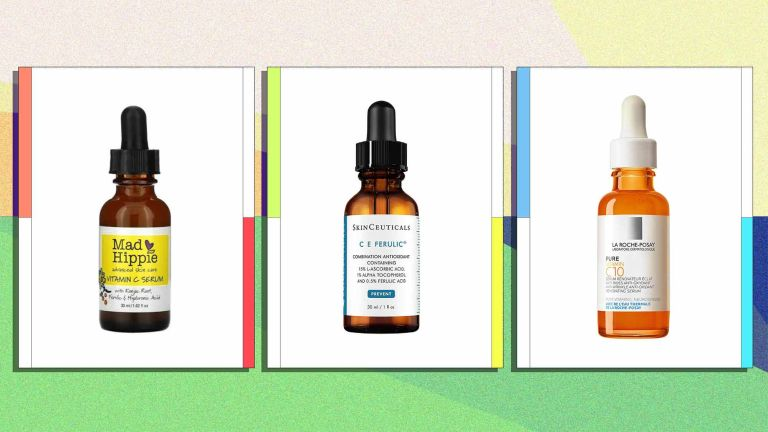 A selection of the best vitamin c serums is pictured, from left to right, Mad Hippie, Skinceuticals C E Ferulic and La Roche-Posay