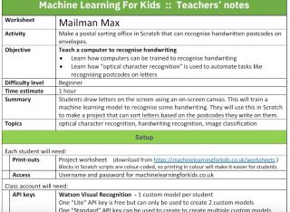Screenshot of Machine Learning for Kids showing detailed lesson notes for teachers.