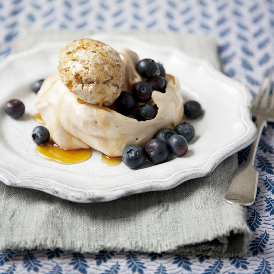 Maple Syrup Meringues with Brown Bread Ice Cream Recipe