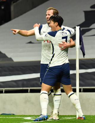 Harry Kane and Son Heung-min celebrate a Tottenham goal