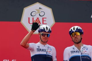 Chris Froome on the podium at the UAE Tour