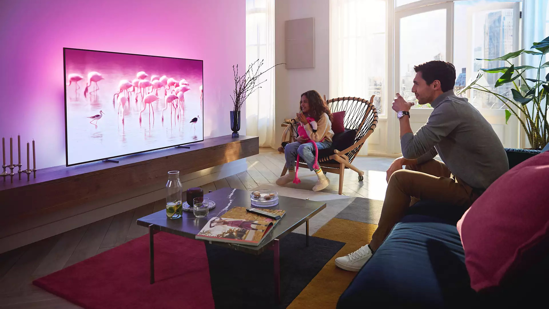The Philips OLED 806 in a living room.