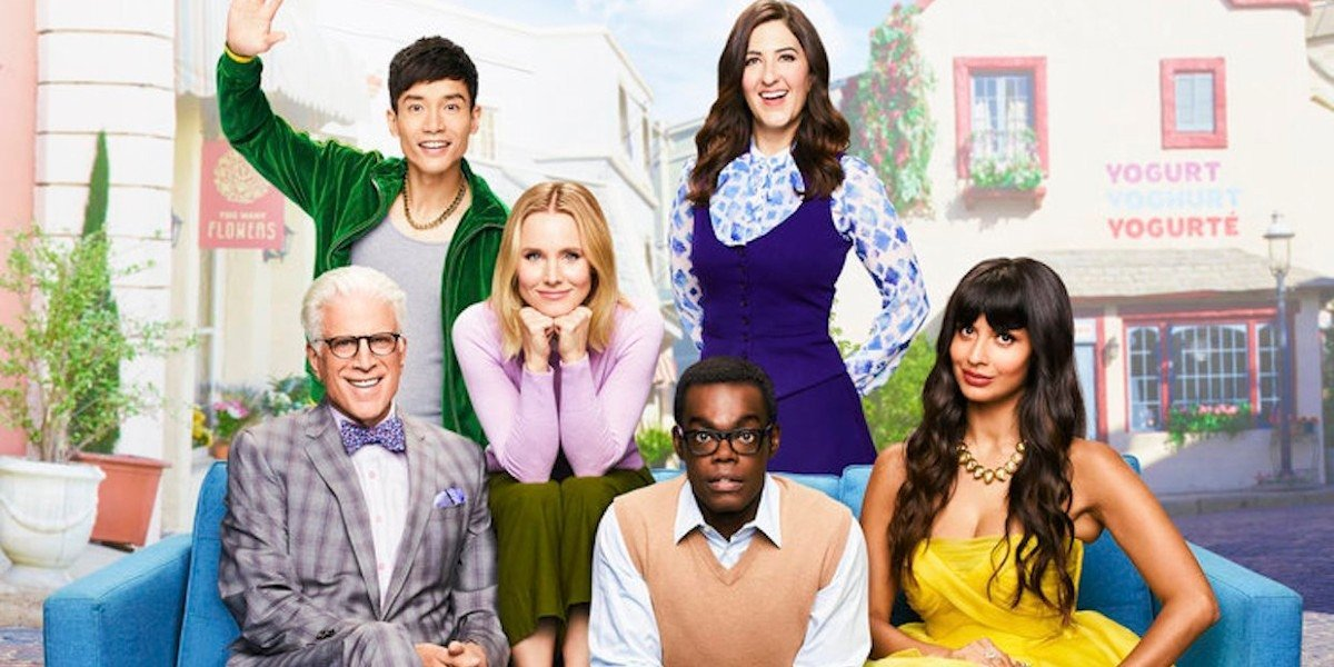 The cast of The Good Place including Kristen Bell.