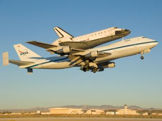 Shuttle Flying Piggyback on 747 to Florida