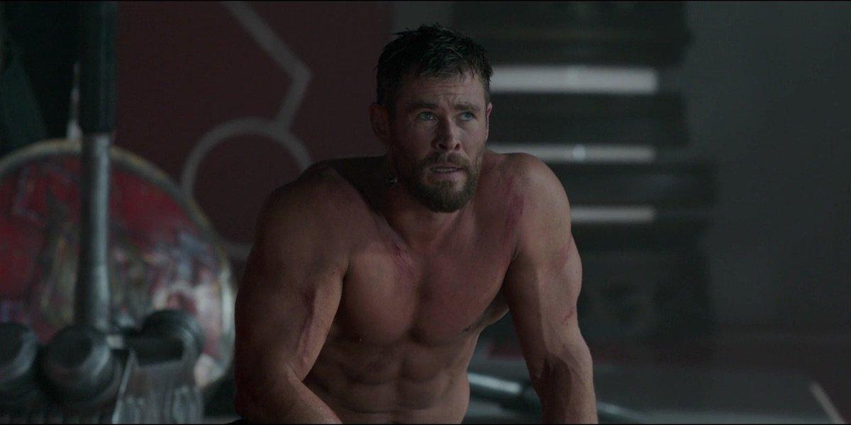 Shirtless Chris Hemsworth in Thor: Ragnarok