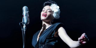 Andra Day performing a song as Billie Holiday in The United States vs. Billie Holiday