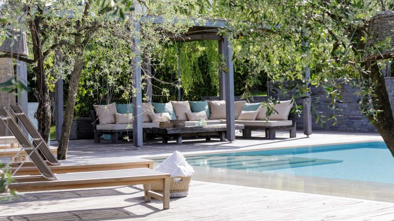 pool ideas with pergola and paving