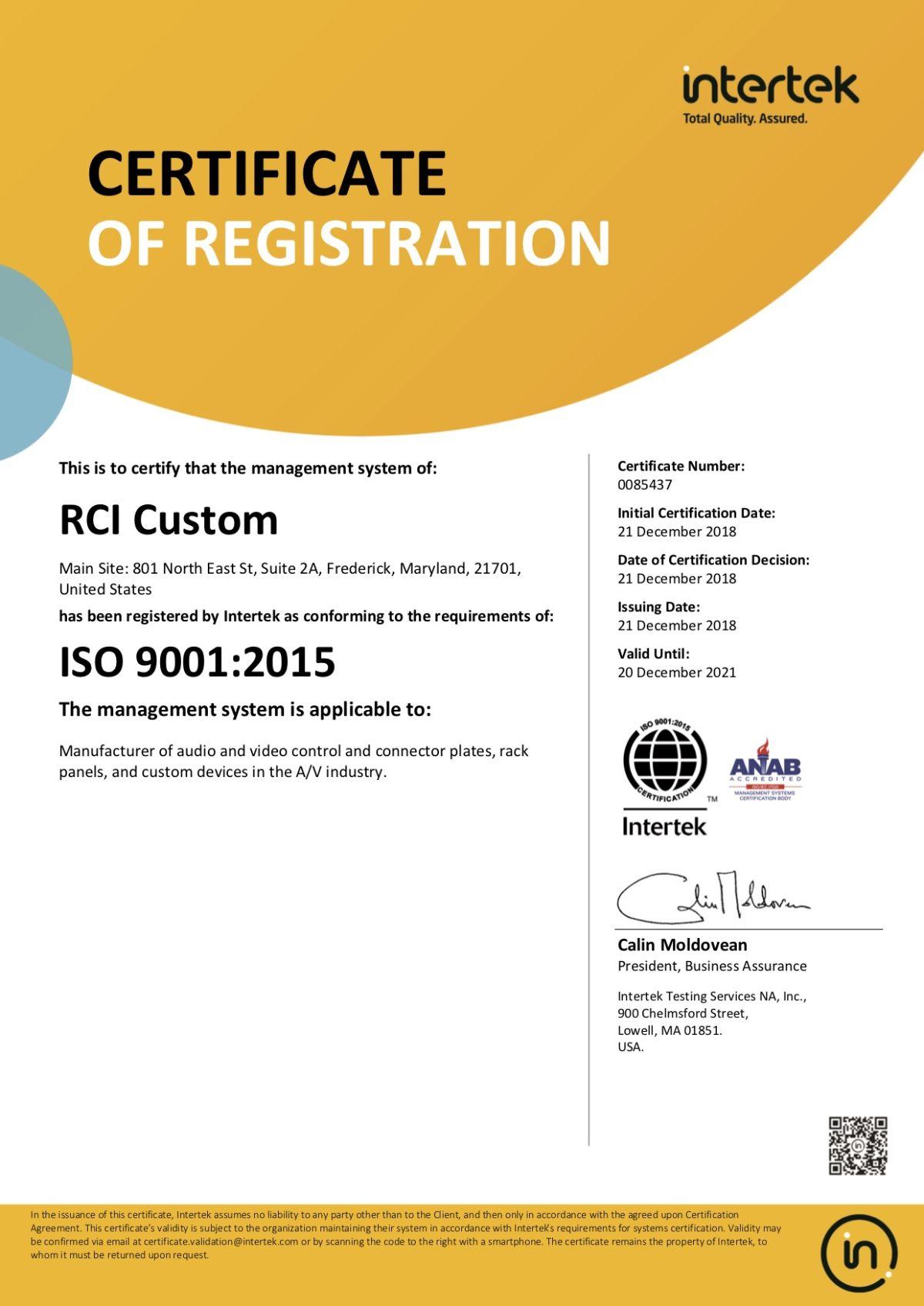 Rci Custom Earns Iso 9001 2015 Certification Avnetwork