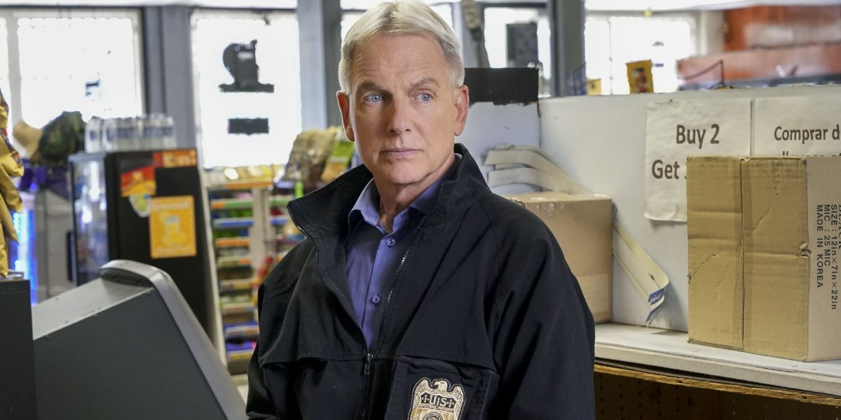 NCIS Mark Harmon at a crime scene