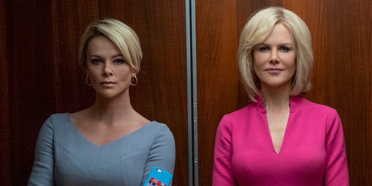 Charlize Theron as Megyn Kelly and Nicole Kidman as Gretchen Carlson in 'Bombshell.'