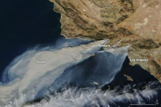 Southern California Wildfires Seen by Terra Satellite