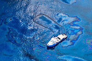 Boat in Oily Gulf of Mexico