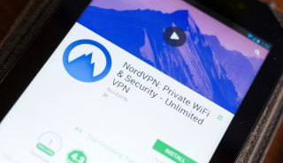 The NordVPN Google Play page displayed on an Android phone.