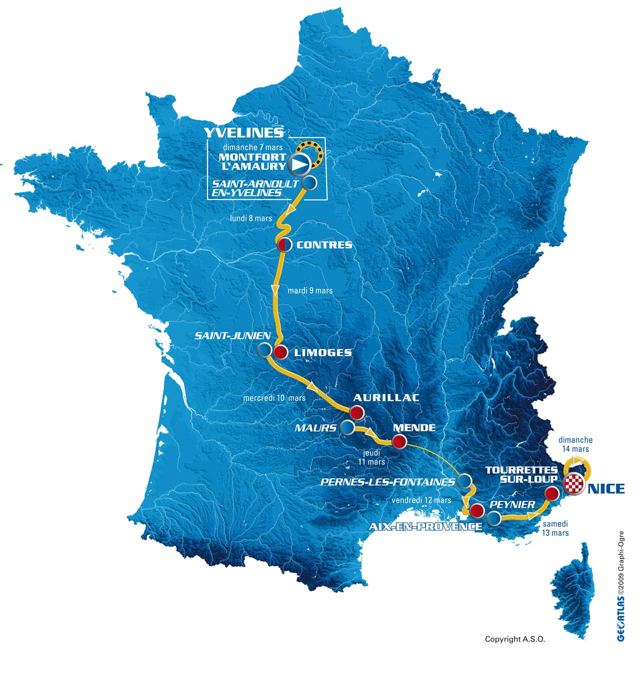 Paris-Nice 2010 route map