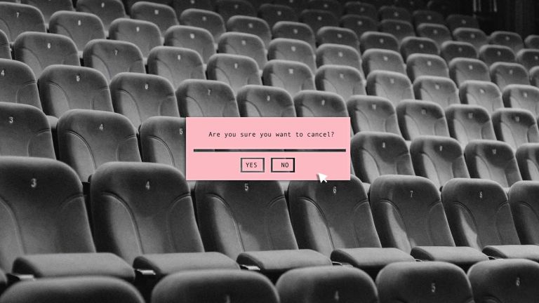 A computer generated image which depicts a pink promt text box with the words, are you sure you want to cancel being asked, there is a cursor hovering over the yes and no buttons, this is overlayed on a balck and white image of an empty auditorium