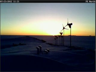The first sunrise of 2012 summer season at Belgian Antarctic station.