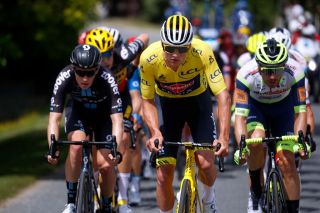 Mathieu van der Poel wore the leader's yellow jersey at the Tour de France