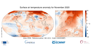 This heat map shows how surface air temperature for November 2020 compares with the November average for the period 1981-2010.