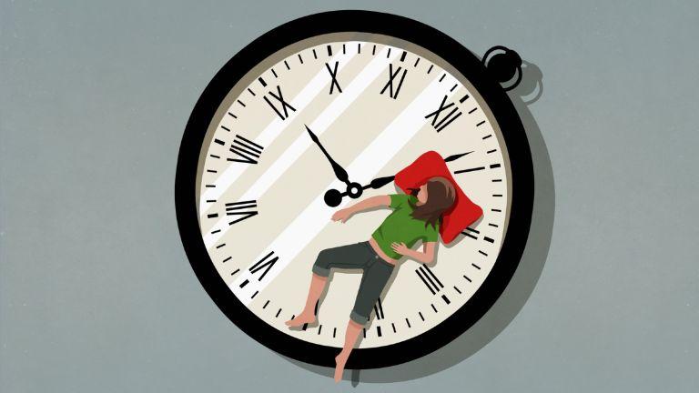 How to fall asleep fast woman on clock face sleeping
