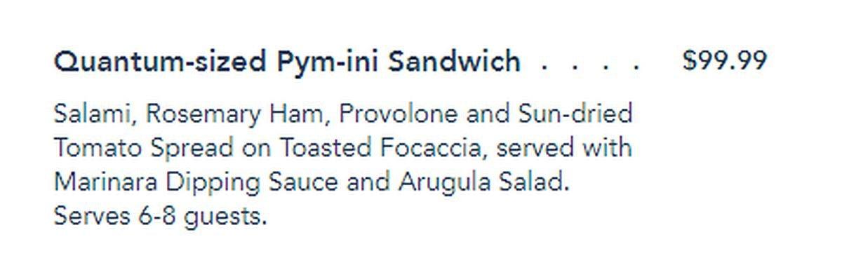 Quantum Sandwich listing from Avengers Campus Menu