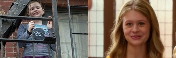 Zoe Colletti standing on a fire escape in pajamas Natalie Ganzhorn smiling in the hall of her high s