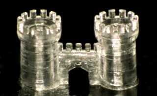 A three-dimensional glass castle that was created with a 3D printer.