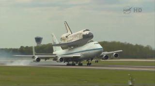 Shuttle Carrier Aircraft Carrying Discovery Lands