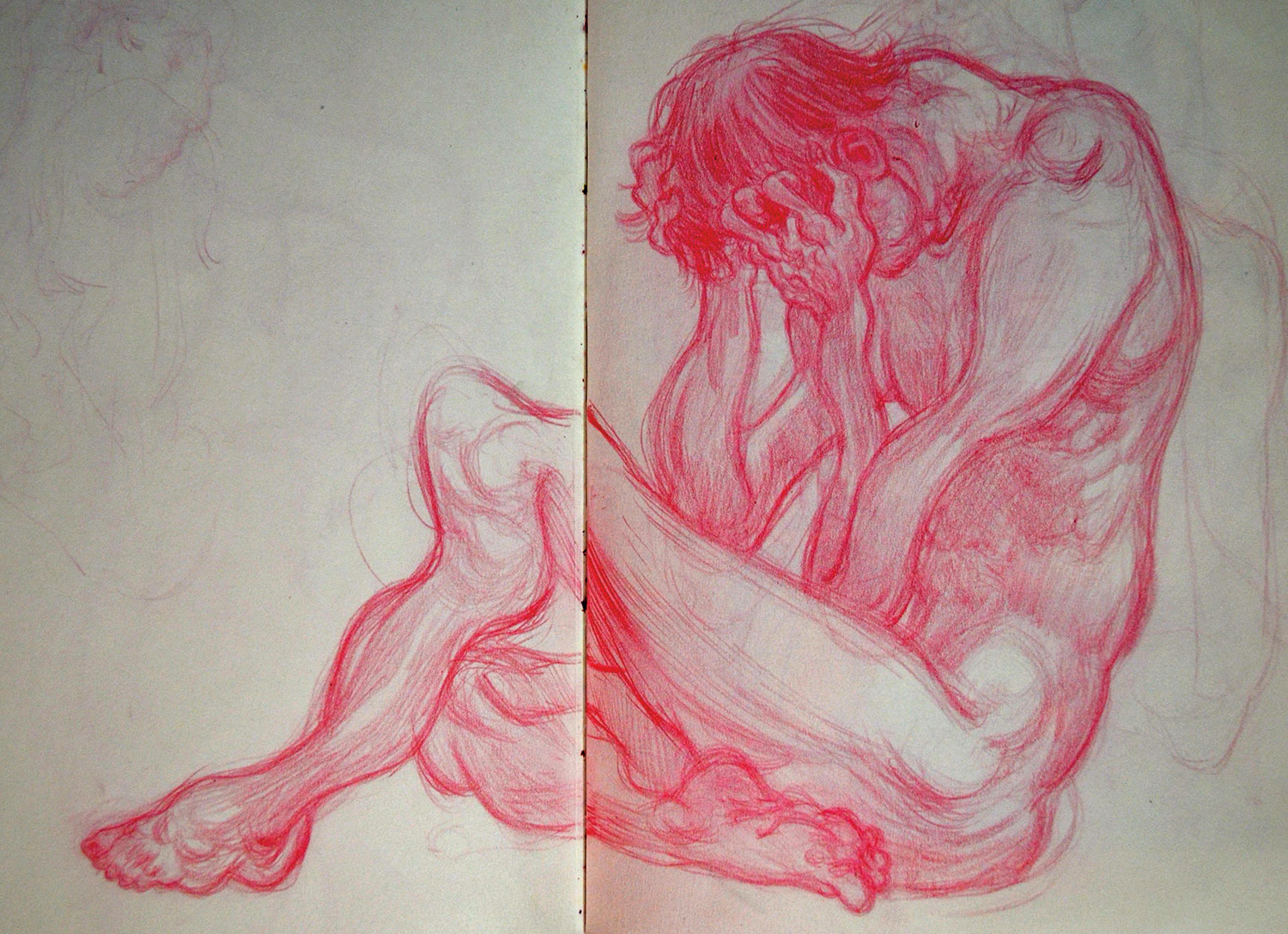 A life drawing of a muscular man