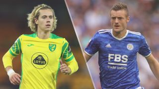 Norwich City vs Leicester City live stream — Todd_Cantwell of Norwich City and Jamie Vardy of Leicester City