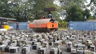 A steamroller in Malaysia crushes more than 1,000 cryptomining rigs