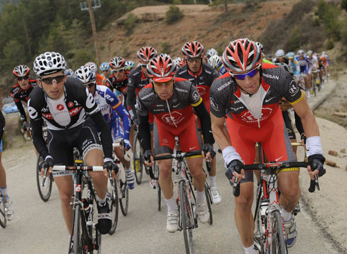 Jason McCartney, Xavier Tondo and Levi Leipheimer, Tour of Catalonia 2010, stage three