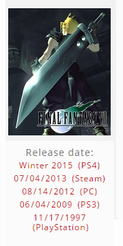 Winter 2015 release date for FF7