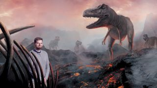 How to photoshop someone into a picture: Man standing in front of dinosaur