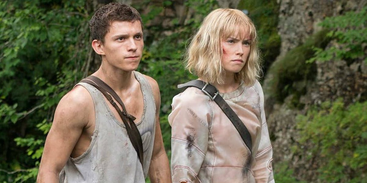 Tom Holland and Daisy Ridley on set of Chaos Walking as Todd and Viola