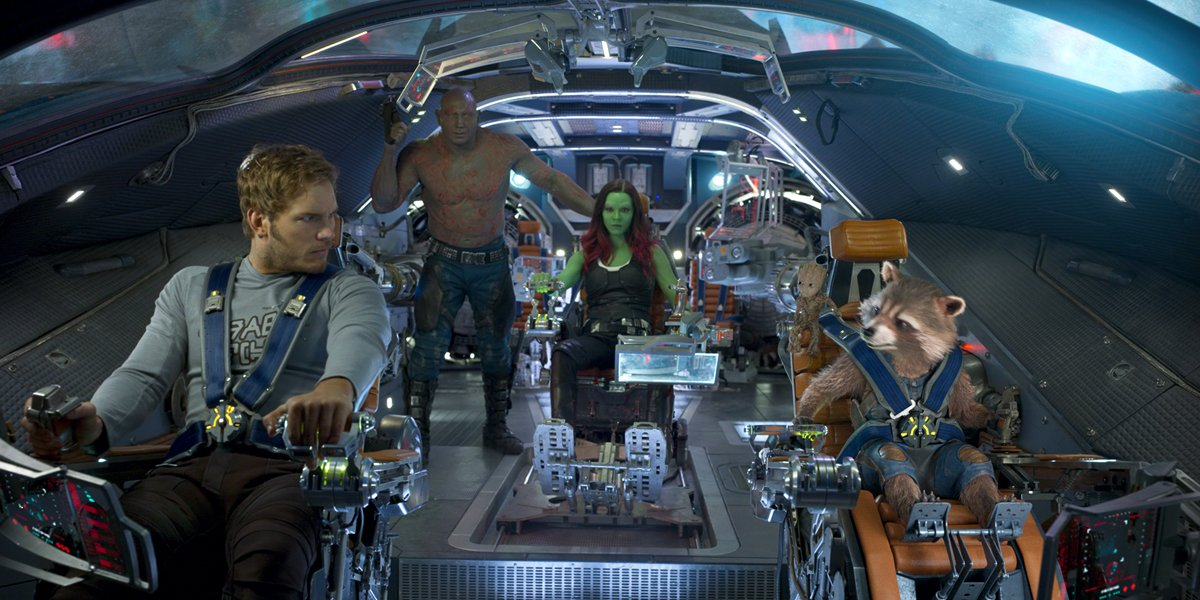 the Guardians of the Galaxy fly together in Guardians of the Galaxy vol. 2