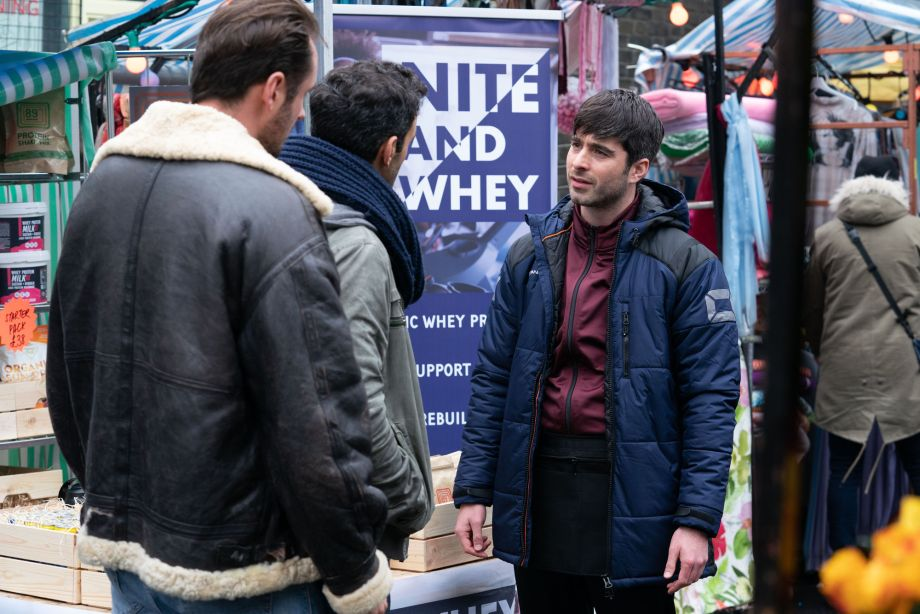 Leo King is confronted by Martin Fowler and Kush Kazemi in EastEnders