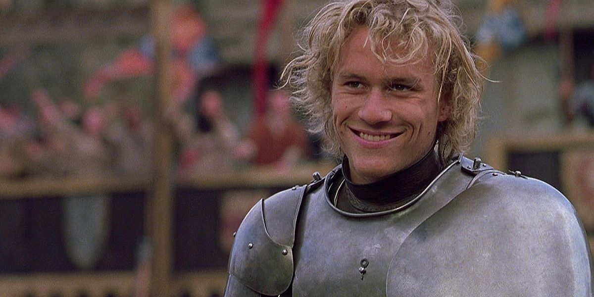 Heath Ledger dressed in armor in A Knight's Tale