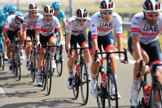 The UAE Team Emirates squad protects Tadej Pogacar
