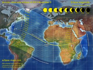 "This overview map of the Nov. 3, 2013 annular and total solar eclipse, a hybrid solar eclipse, shows the path of the event. Cartographer Michael Zeiler of <a href=""http://eclipse-maps.com/"">Eclipse-Maps.com</a>."
