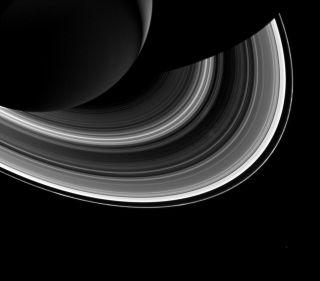 Saturn and Moon Mimas Near RIngs