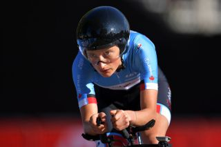 HARROGATE ENGLAND SEPTEMBER 23 Magdeleine Vallieres Mill of Canada during the 92nd UCI Road World Championships 2019 Individual Time Trial Women Junior a 137km stage from Harrogate to Harrogate ITT Yorkshire2019 Yorkshire2019 on September 23 2019 in Harrogate England Photo by Justin SetterfieldGetty Images