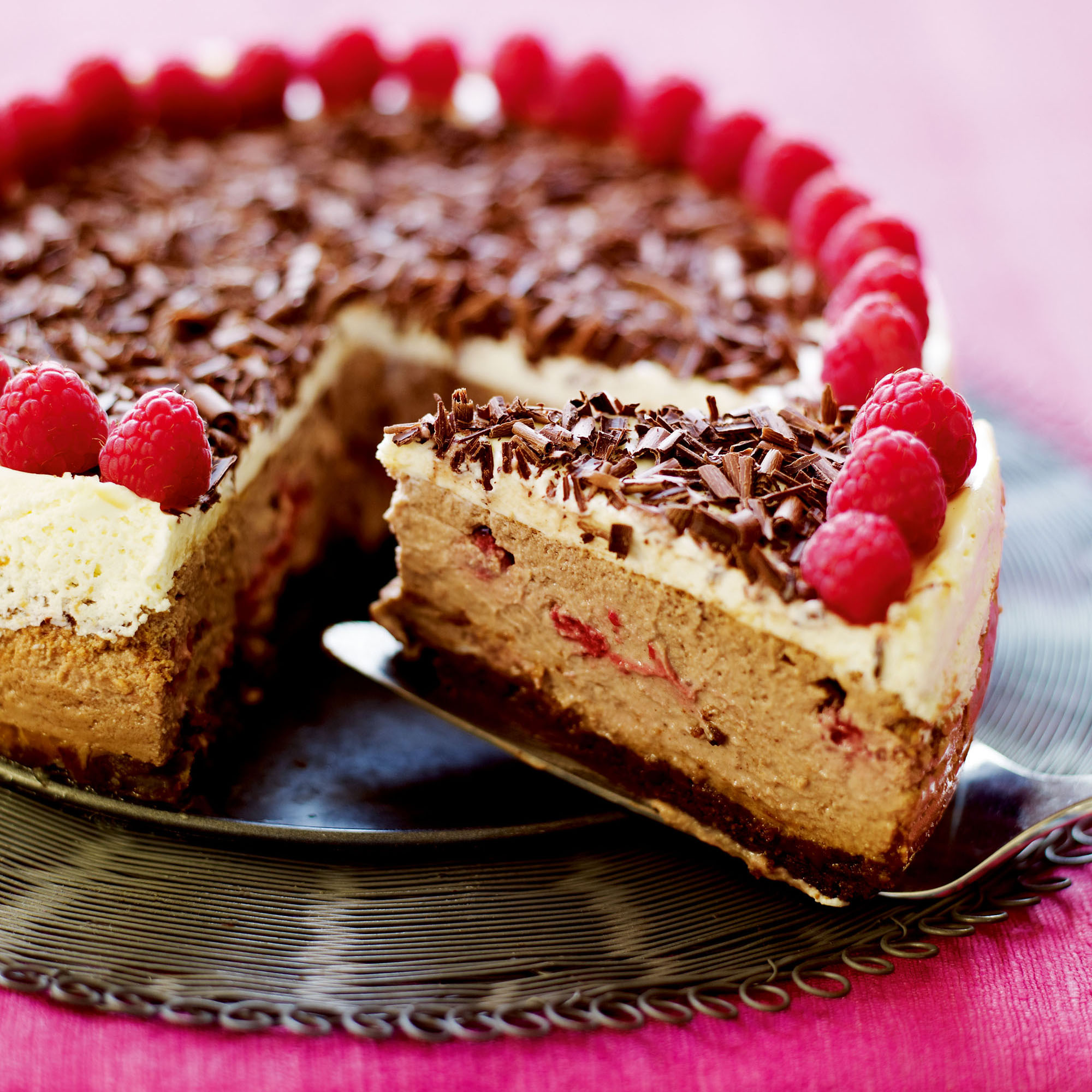 American Style Baked Chocolate And Raspberry Cheesecake Dessert