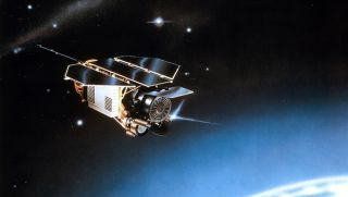 Artist's impression of the ROSAT satellite in space