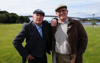 Great British Car Journeys. Shows Christopher Timothy and Peter Davidson in Scotland