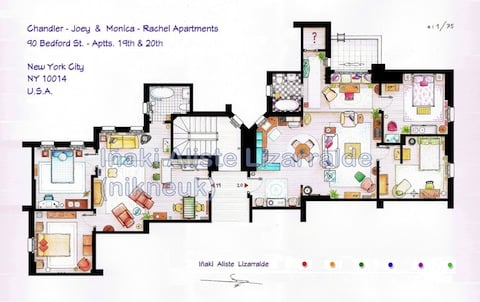 Among The Apartment And House Plans You Can Have To Adorn Your Own Walls  Are A Combined Plan Of The Two Friends Apartments, Joey And Chandleru0027s And  Monica ...